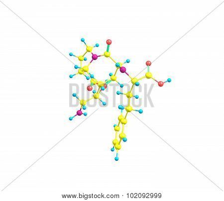 Lisinopril is a drug of the angiotensin-converting enzyme inhibitor class used primarily in treatment of hypertension congestive heart failure and heart attacks. 3d illustration