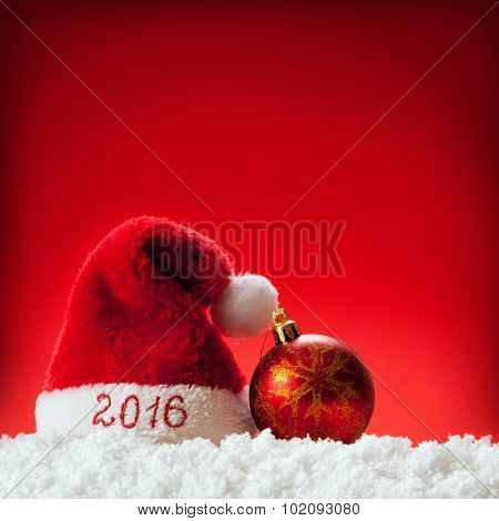 Happy new year 2016 santa hat .