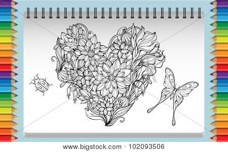 cloloring page with heart made of flowers bug and butterfly