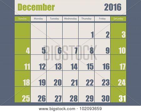 Blue Green Colored 2016 December Calendar