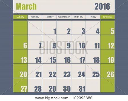 Blue Green Colored 2016 March Calendar