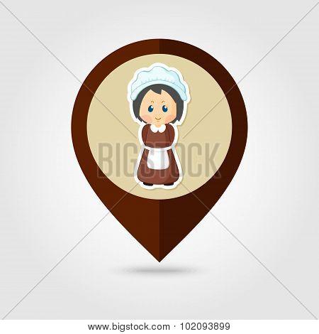 American Pilgrim Children Mapping Pin Icon