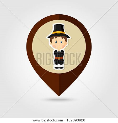 American Pilgrim Children Mapping Pin Icon