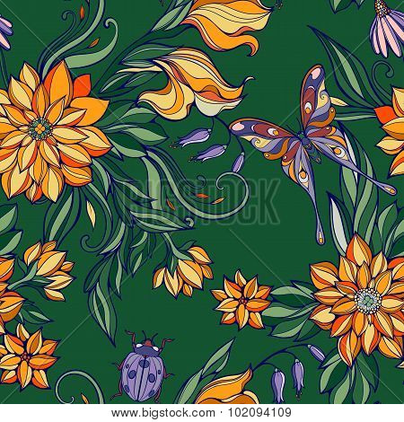 seamless pattern of colourful flowers and leaves with butterflie