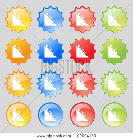 Rockfall Icon. Big Set Of 16 Colorful Modern Buttons For Your Design. Vector