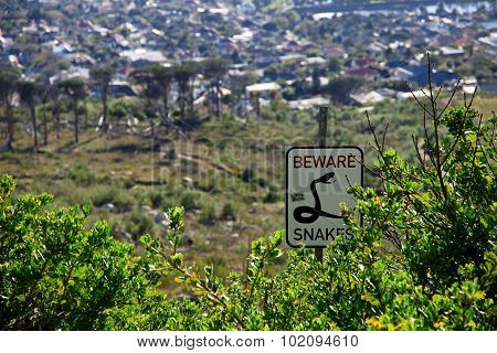 Beware snakes sign post in the bushes of Capetown South Africa
