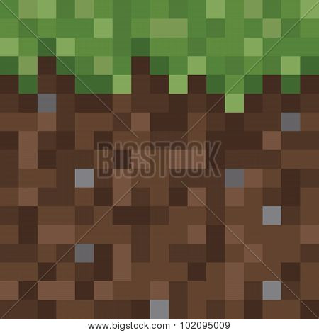 Texture for platformers pixel art vector - ground mud block with grass on top