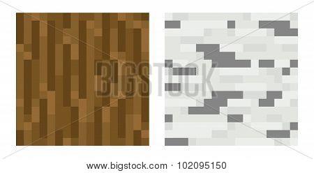 Texture for platformers pixel art vector - brown tree trunk, birch