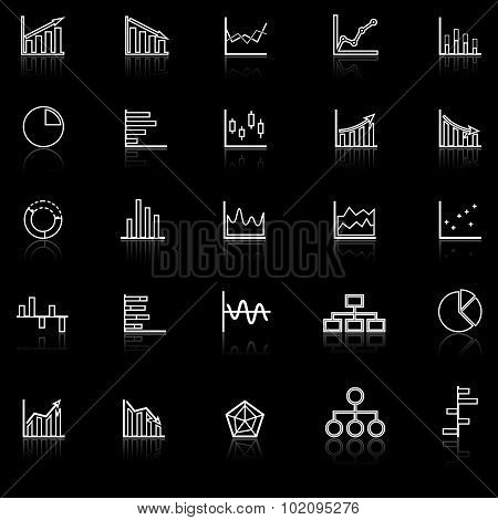 Graph Line Icons With Reflect On Black Background