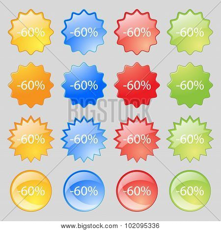 60 Percent Discount Sign Icon. Sale Symbol. Special Offer Label. Big Set Of 16 Colorful Modern Butto