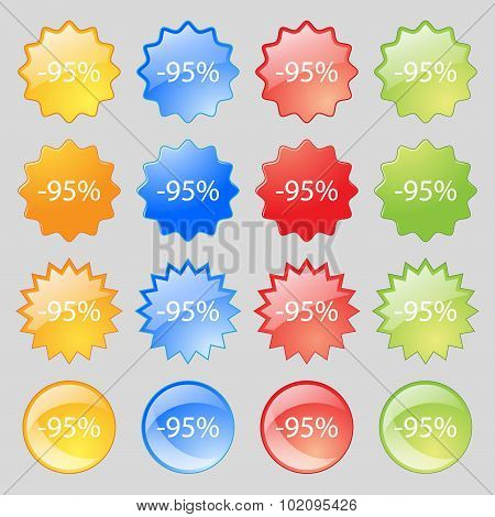 95 Percent Discount Sign Icon. Sale Symbol. Special Offer Label. Big Set Of 16 Colorful Modern Butto