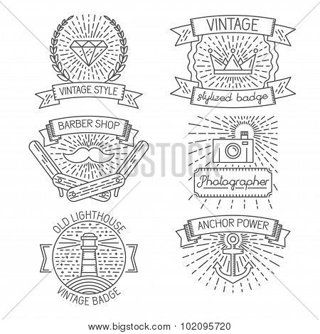 Set of abstract badges, labels, design elements and templates in trendy linear style  for logo desig