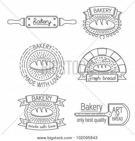 Set of badges, labels, design elements and templates in trendy linear style about bakery, bread, bak