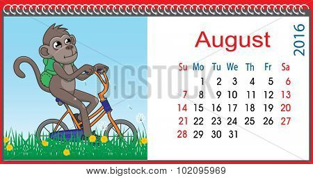 Horizontal Calendar With A Monkey In August