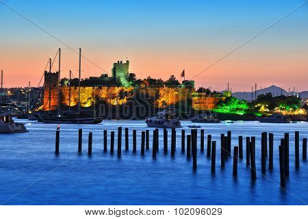 View Of Bodrum Harbor And Castle Of St. Peter After Sunset