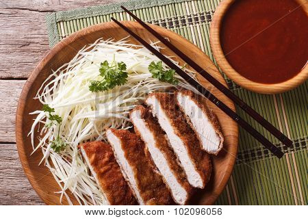 Tonkatsu Breaded Deep Fried Pork With Cabbage Closeup Horizontal Top View