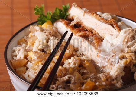 Katsudon - Tonkatsu Pork Breaded With Eggs And Rice Macro. Horizontal