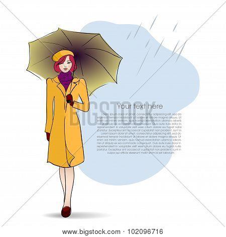Lady with umbrella on autumn background