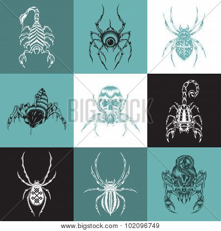 Set of labels with the image of arachnids.