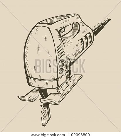 It is monochrome illustration ofelectrical fretsaw.