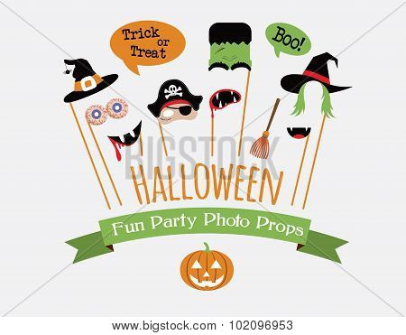 Halloween party invitation with photo booth props