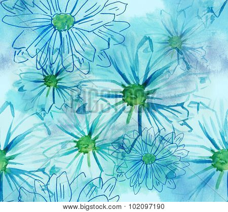 Seamless daisies watercolor pattern