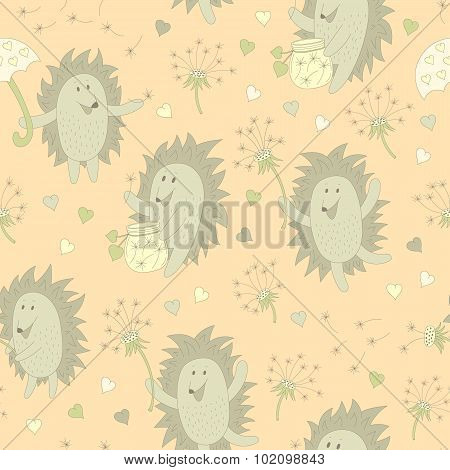 Pattern With Hedgehog And Dandelion