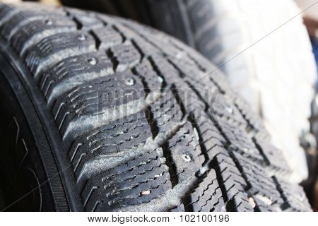 Macro Shooting Car Winter Tyres With Spikes