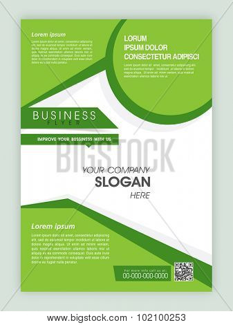 Creative green and white flyer, banner or template design for business or corporate sector.