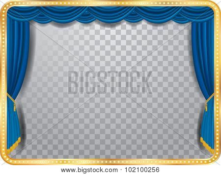 vector stage with blue curtain, golden frame, bulb lamps and transparent shadow
