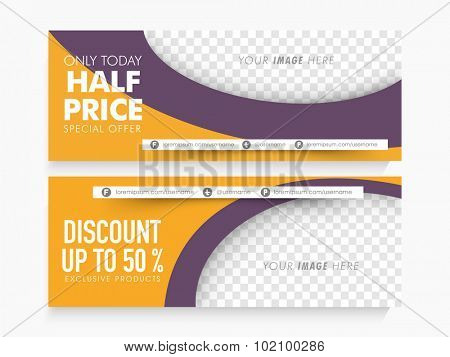 Half Price Sale website header or banner set with free space for your image.