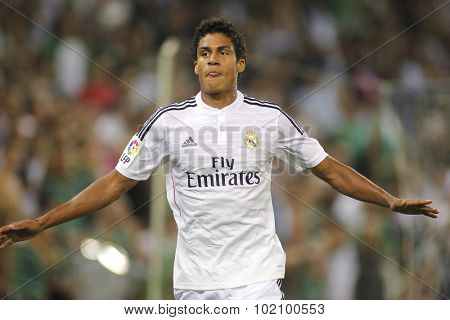 BARCELONA - MAY, 11: Raphael Varane of Real Madrid during the Spanish League match between Espanyol and Real Madrid at the Estadi Cornella on May 11, 2013 in Barcelona, Spain