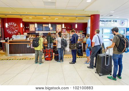 PRAGUE, CZECH REPUBLIC - AUGUST 04, 2015: Costa Coffee cafe interior. Costa Coffee is a British multinational coffeehouse company headquartered in Dunstable, England