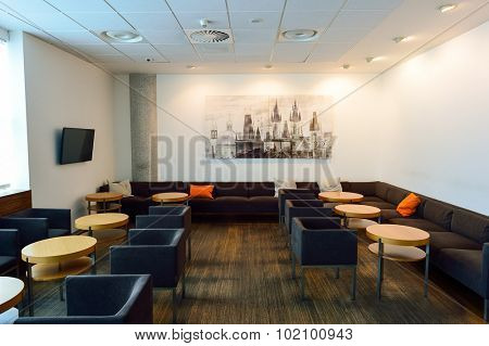PRAGUE, CZECH REPUBLIC - AUGUST 04, 2015: Menzies Aviation lounge interior. Menzies Aviation is a global provider of passenger, ramp and cargo handling services