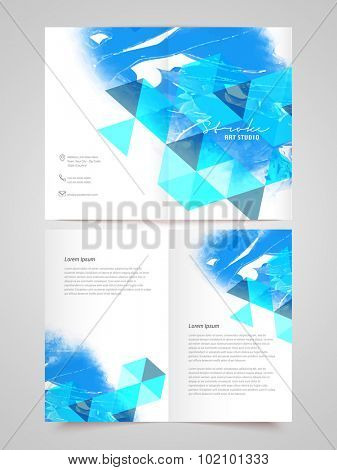 Creative professional Business Brochure, Template or Flyer presentation with blue abstract design.