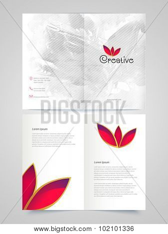 Beautiful shiny leaves decorated, Abstract professional Brochure, Template or Flyer design for your Business.