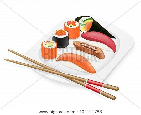 Diverse Set Of Sushi With Chopsticks On A Plate Vector Illustration