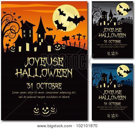 French Halloween invitation poster illustration