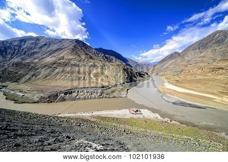 Panoramic view of confluence of Zanskar (from top) and Indus rivers near Nimmu village in Ladakh