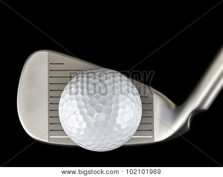 Golf Ball And Iron Club Closeup