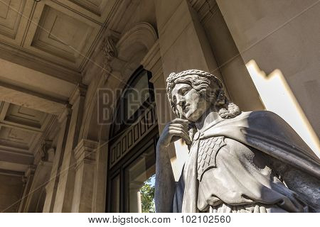 Statue At Frankfurt Stock Exchange With The Female Greek Godness Europe