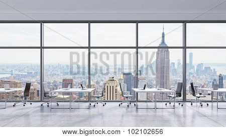 Workplaces In A Modern Panoramic Office, New York City View In The Windows, Manhattan. Open Space. W