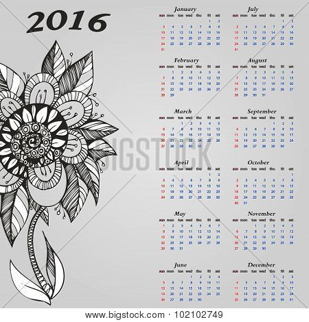 Stylish calendar with flowers for a year
