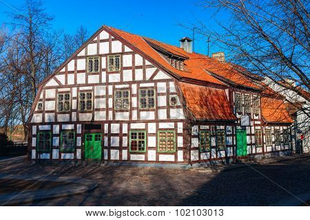 Half-timbered residential vintage house in the old town district on Piles street. Klaipeda