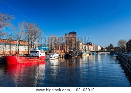 Danes river with Klaipeda central wharf and cruise terminal. Klaipeda town Lithuania.