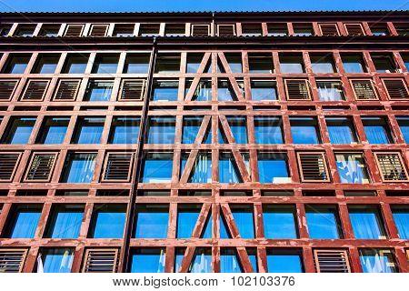 Colorful facade with a retro (vintage) windows