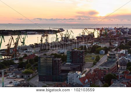 Central industrial wharf of Klaipeda city port. Klaipeda Lithuania.