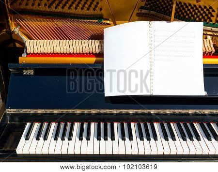 Open piano with piano keys and music notes