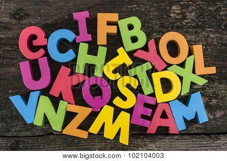Multicolored Wooden Letters On Vintage Board