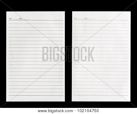 White Lined Paper Isolated On Black Background